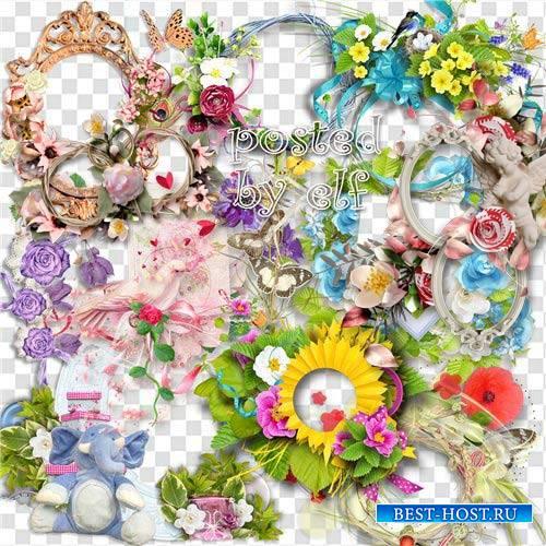 Цветочные рамки-вырезы и композиции на прозрачном фоне - Летняя феерия