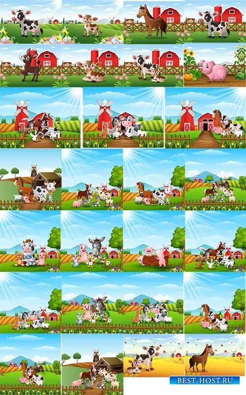 Животные на ферме - Векторный клипарт / Animals on farm - Vector Graphics