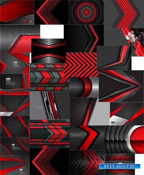 Чёрное и красное - Фоны в векторе / Black and red - Backgrounds in vector