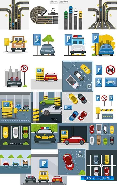 Дороги и парковки в векторе / Road and parking in vector