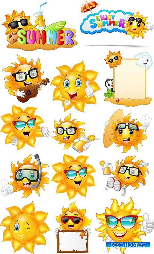 Весёлое солнышко - Векторный клипарт / Cheerful sun - Vector Graphics