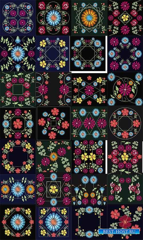 Декоративные цветы в векторе / Decorative flowers in vector