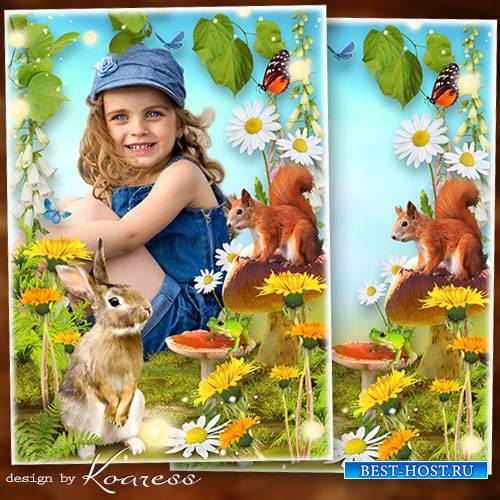 Детская рамка для фото - Летняя полянка