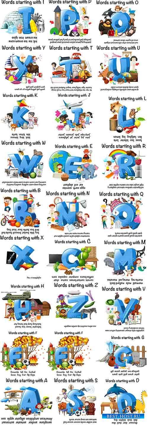 Английский алфавит в картинках - Вектор / English alphabet in pictures - Ve ...