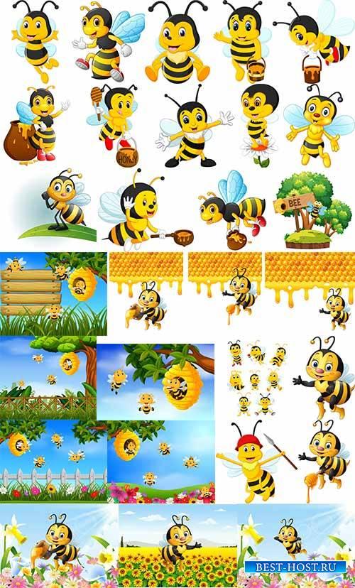 Пчёлки дарят людям мёд - Вектор / Bee give people honey - Vector