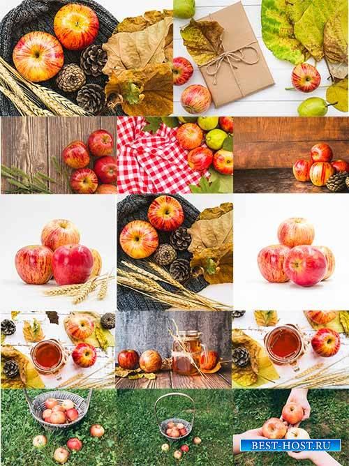 Фоны с яблоками - Растровый клипарт / Backgrounds with apples - Raster clipart