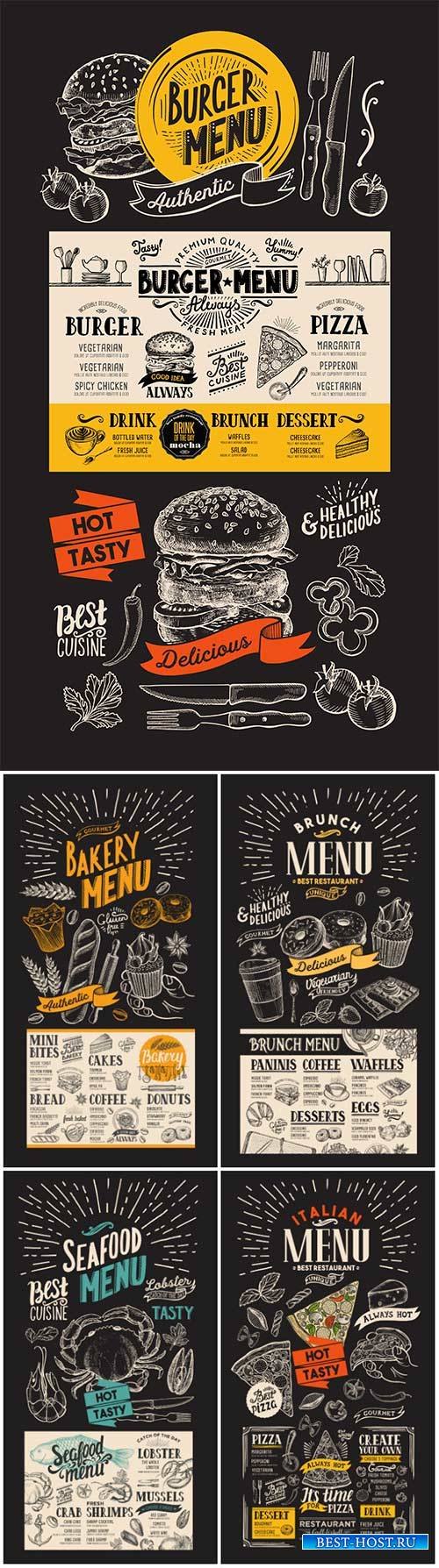 Vector food restaurant menu, design template with vintage hand-drawn flyer  ...