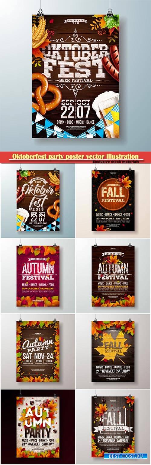 Oktoberfest party poster vector illustration , fresh beer, pretzel, sausage ...
