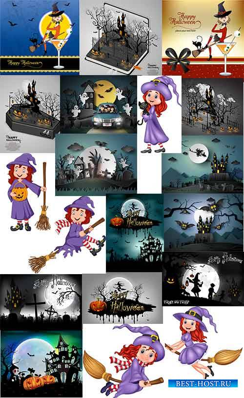 Хэллоуин - Фоны в векторе / Halloween - Backgrounds in vector