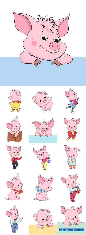 Cute little vector pig, cartoon vector character