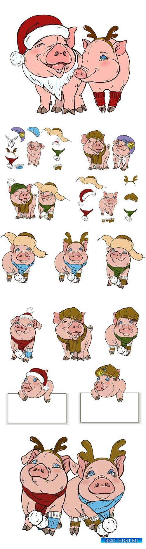 Pigs in Christmas costumes, vector illustration