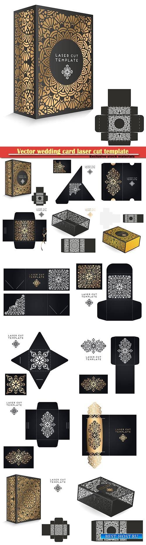 Vector wedding card laser cut template, vintage decorative elements