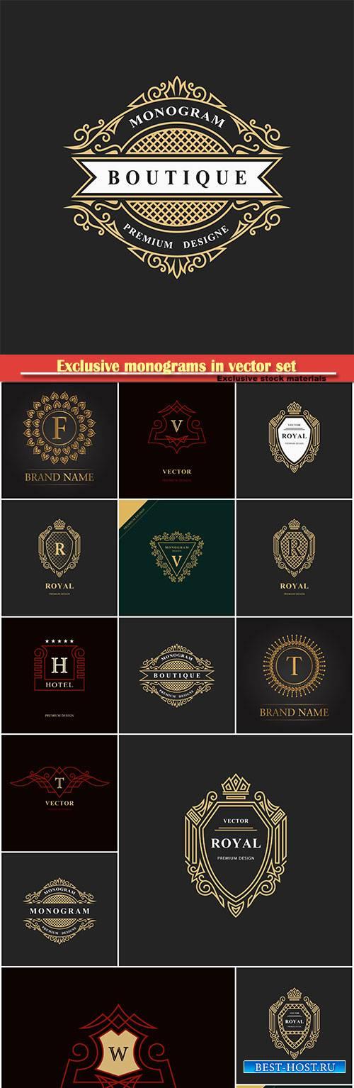 Monogram design elements, calligraphic vector line art logo design