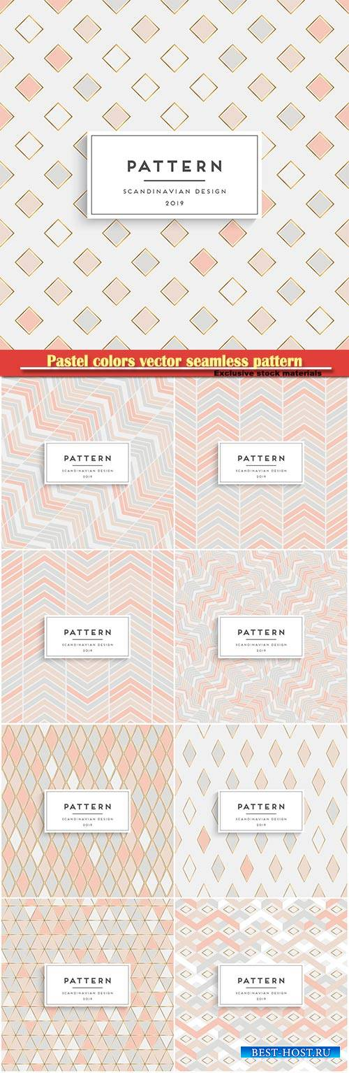 Pastel colors vector seamless pattern with triangles, geometric mosaic art  ...