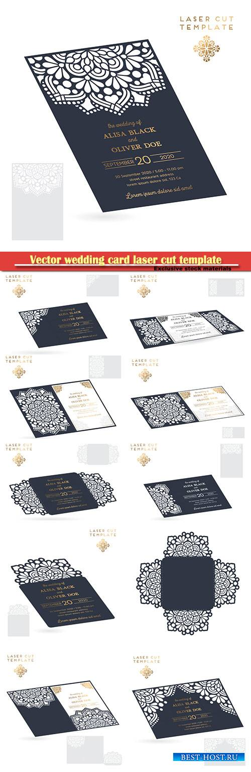 Vector wedding card laser cut template, decorative elements hand drawn back ...