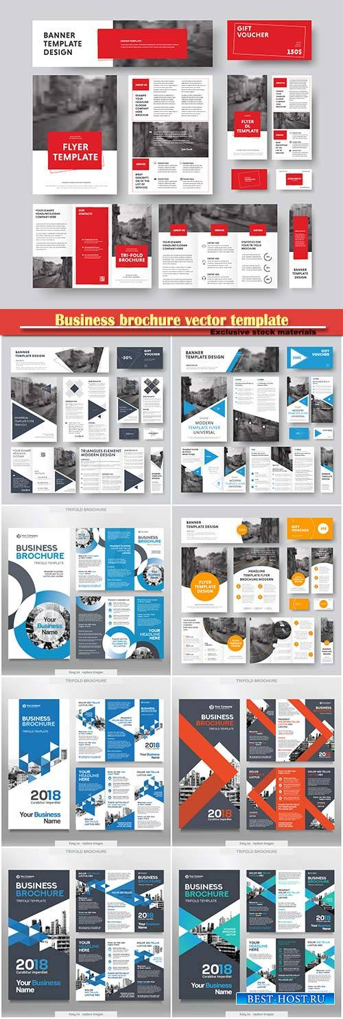 Business brochure template in tri fold layout corporate design