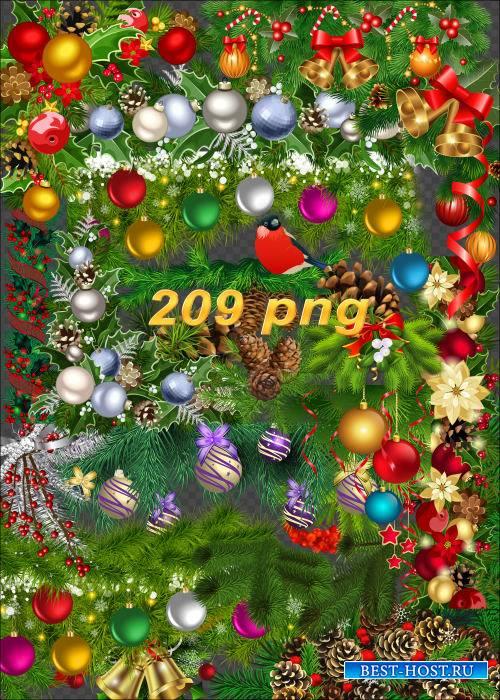 Богатый клипарт на прозрачном фоне - Новогодние кластеры, бордюры, уголки, венки и хвойные украшения