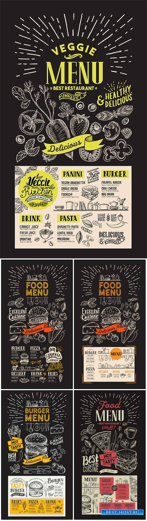 Food flyer menu for restaurant, vintage hand-drawn vector illustrations