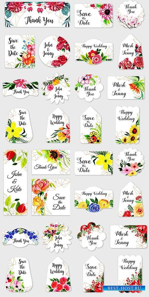 Цветочная акварель в векторе / Flower watercolor in vector