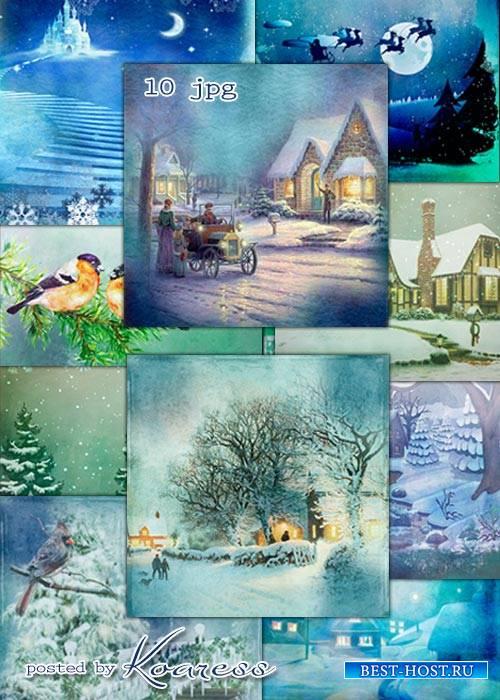 Набор зимних винтажных фонов для фотошопа - Зимние сказки