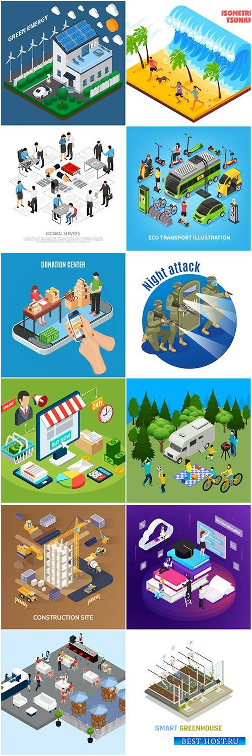 Isometric conceptual vector composition, infographics template # 41