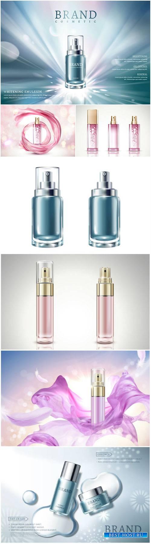 Spray bottle mockup in 3d vector illustration