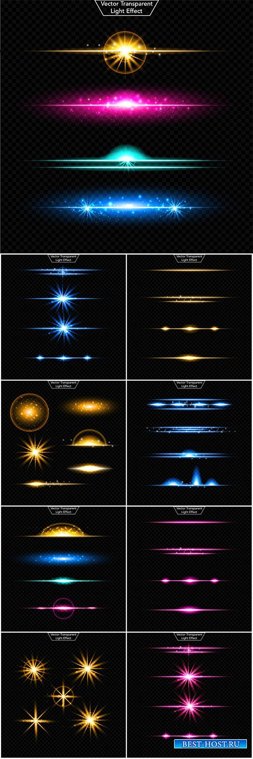 Light effect gold vector set