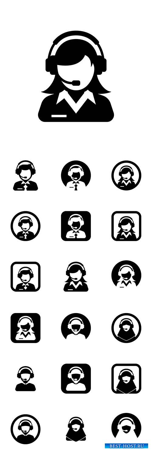 Men and women administrator silhouette vector icon