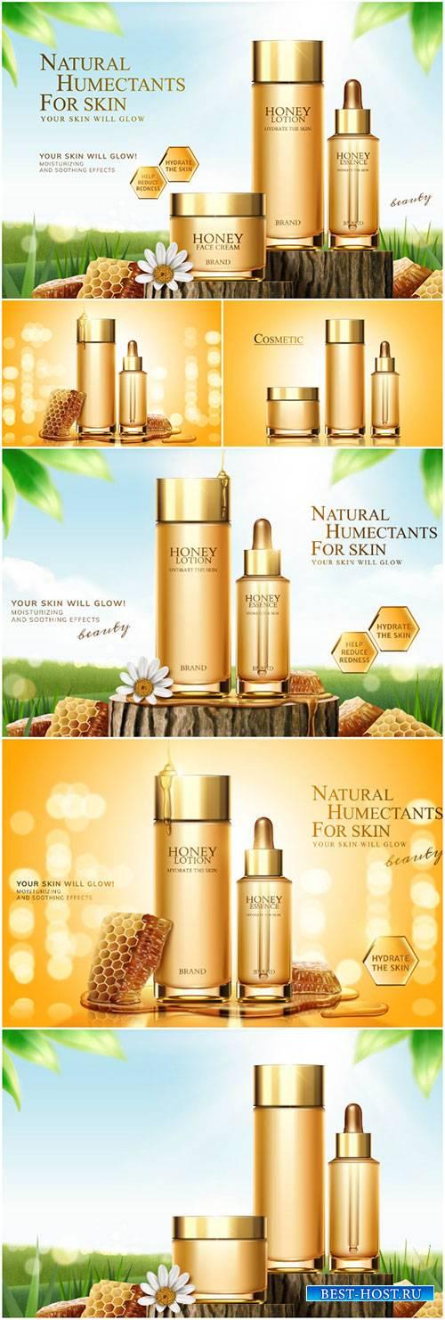 Honey skincare ads in 3d vector illustration