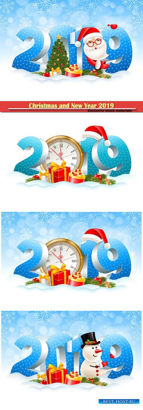 Christmas and New Year 2019 festive design vector illustration, Santa Claus ...