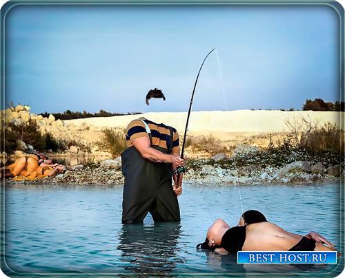 Мужской фотошаблон - Необычная рыбалка