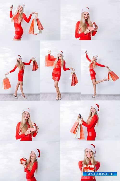 Блондинка в красном платье - Растровый клипарт / Blonde in red dress - Raster clipart