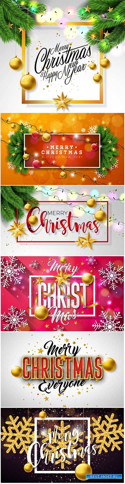 Merry Christmas vector holiday design card, party invitation