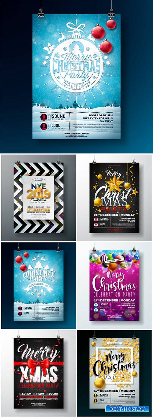 2019 Happy New Year vector illustration with typography lettering, holiday  ...