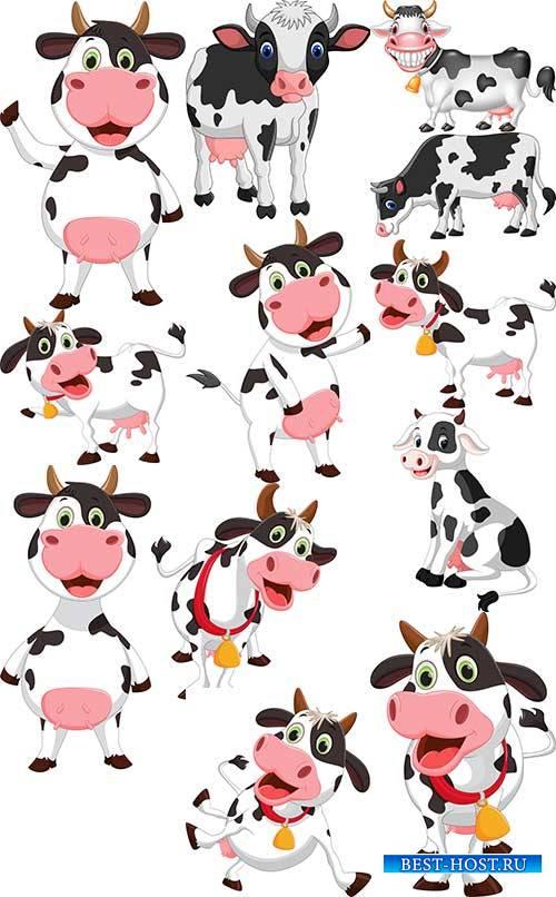 Забавная корова - Векторный клипарт / Funny cow - Vector Graphics