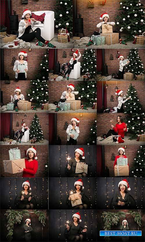 Девушка в новогоднем костюме - Растровый клипарт / Girl in Christmas costum ...