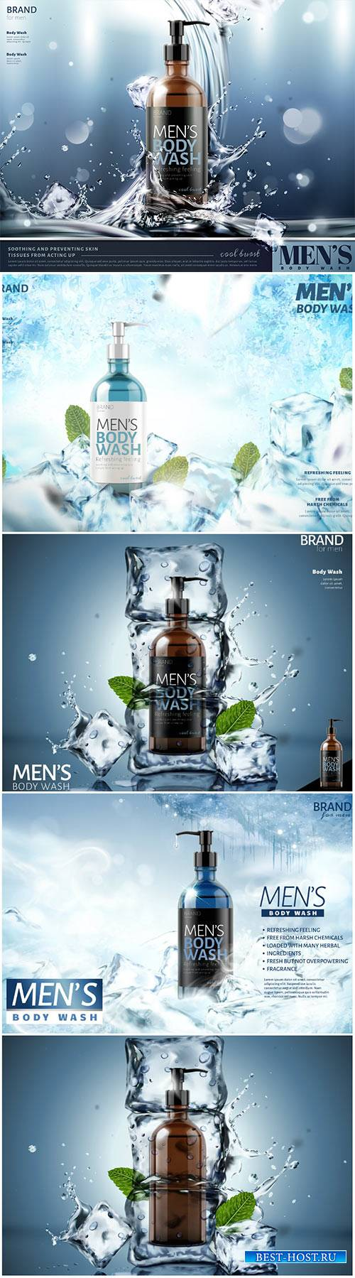 Men's body wash vector poster ads with splashing water and ice cubes in 3d ...