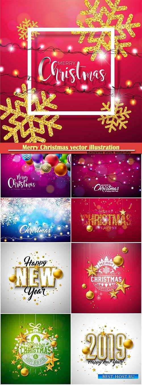 Merry Christmas vector illustration with shiny gold snowflakes