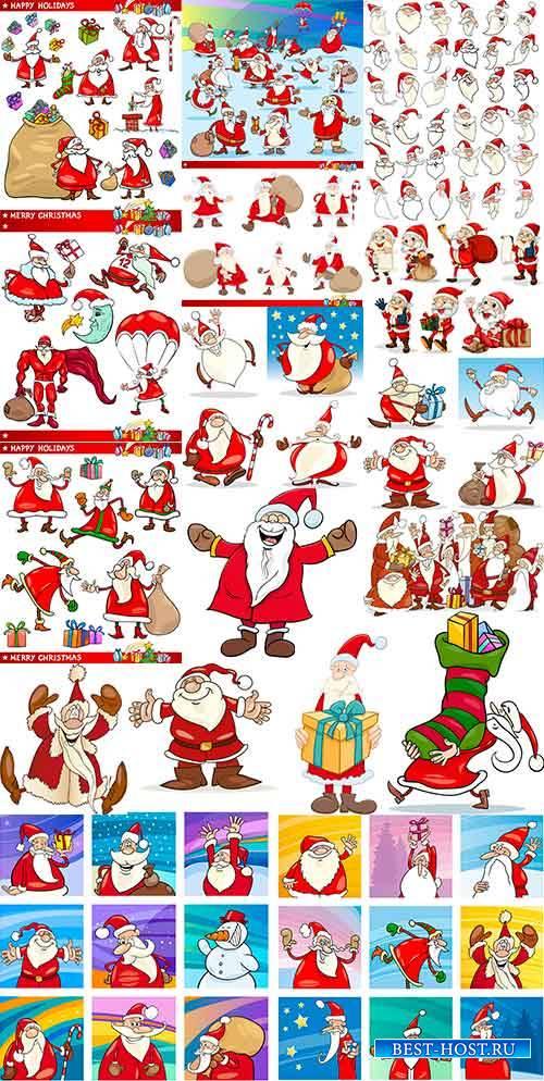 Озорной Санта Клаус в векторе / Santa Claus in vector