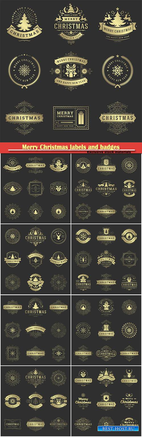 Merry Christmas labels and badges, vector decorative design elements set