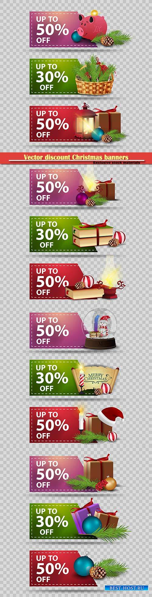 Vector discount Christmas banners