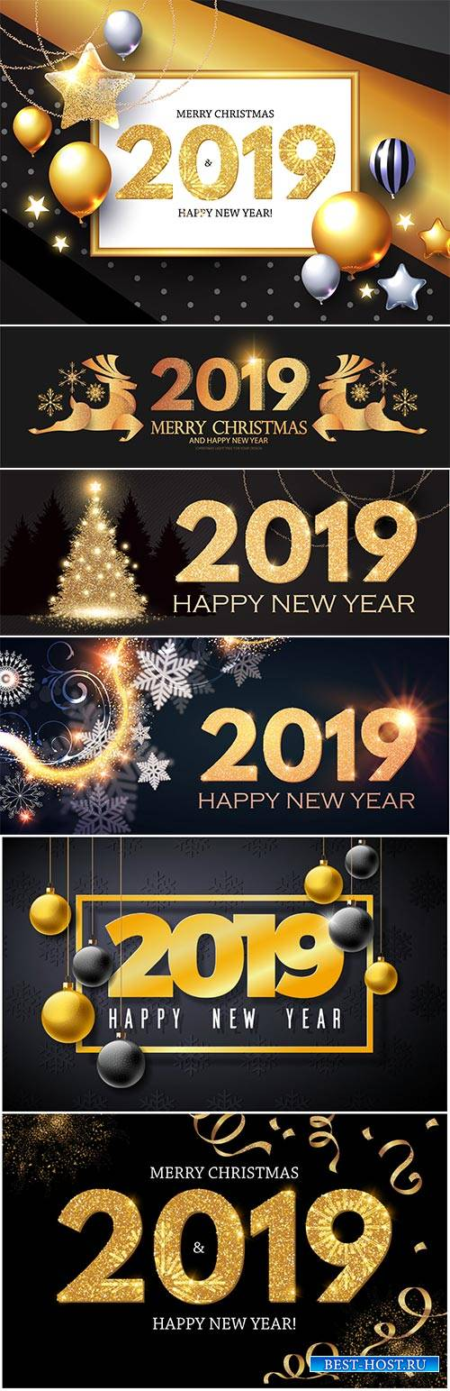 Happy New 2019 Year Vector illustration with gold shining christmas tree