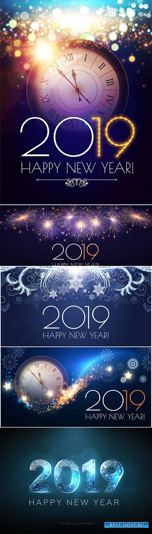 Happy New 2019 Year vector illustration, clock, fireworks