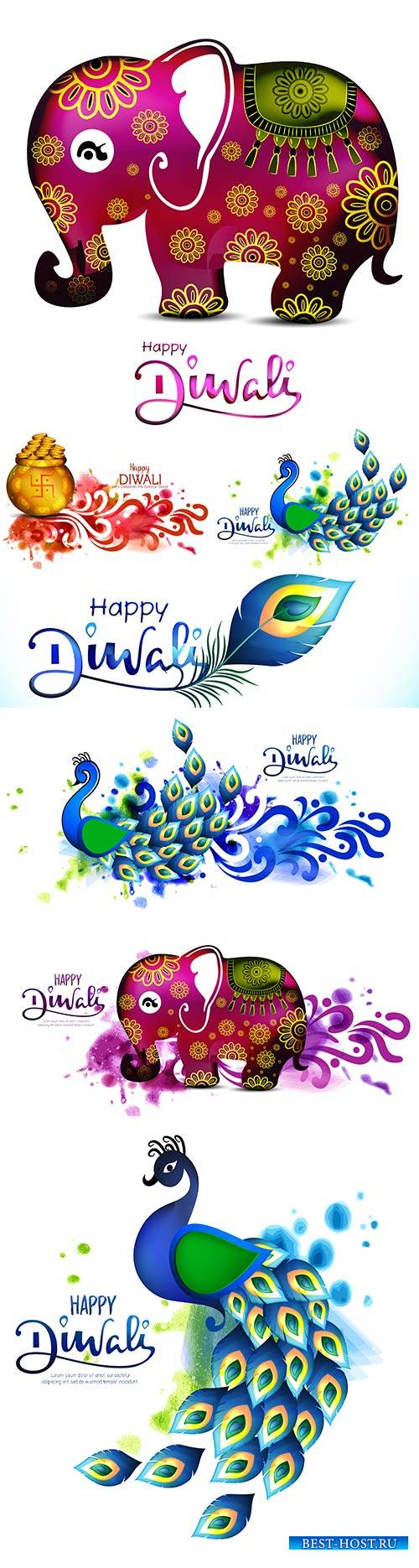 Diwali festival holiday design with peacock with beautiful elephant