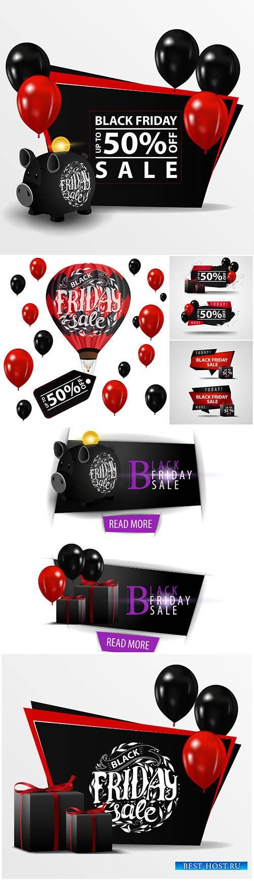 Black Friday sale vector banner with black piggy bank