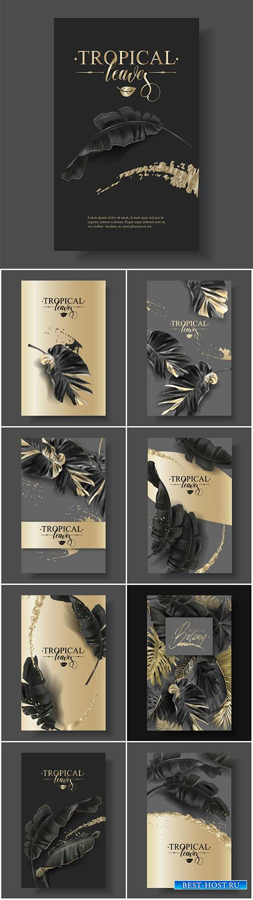 Vector banner with tropical leaves and gold splashes, design for cosmetics, ...