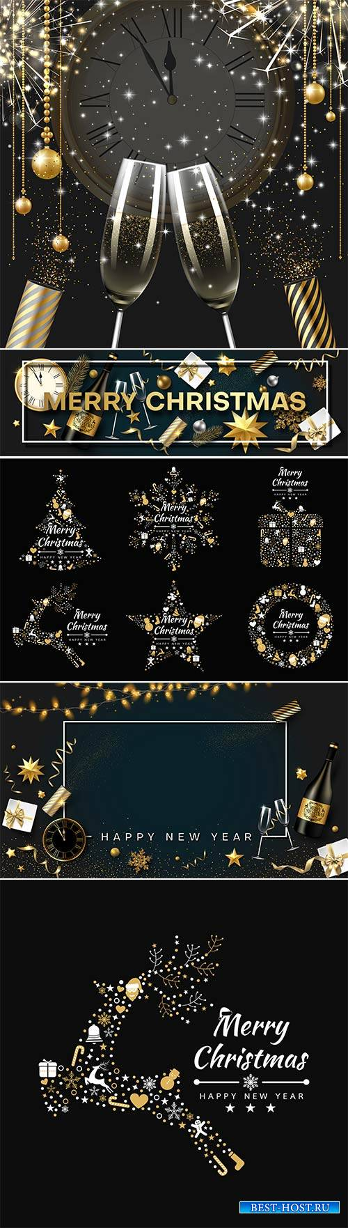 Christmas and New Year vector card with golden decor