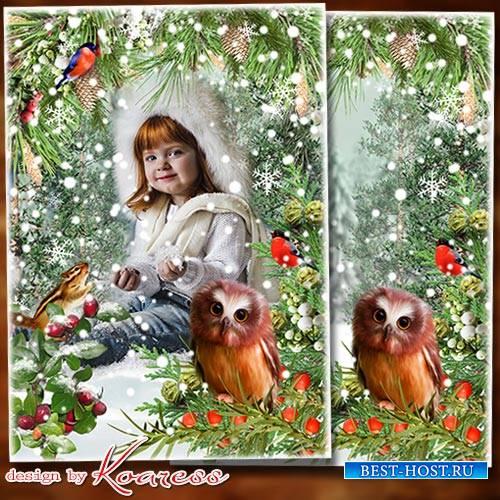 Зимняя фоторамка-коллаж для детских фото - Белый снег пушистый в воздухе кр ...