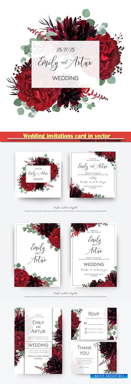Wedding invitations card in vector