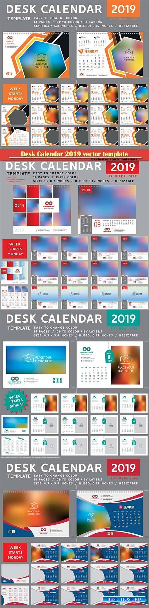 Desk Calendar 2019 vector template, 12 months included # 5